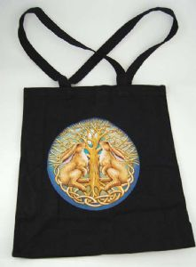 Hippy Bag~Pagan Hippy Moon Gazing Hare Tote Shopper Bag~Fair Trade By Folio Gothic Hippy 95116